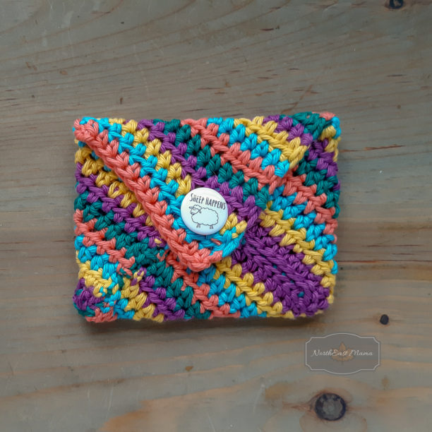 Back view of multi colored crochet envelope