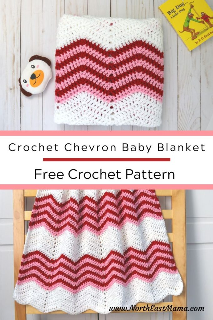 Crochet Chevron Baby Blanket Pinterest Image